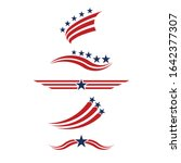 usa icon set in red and blue.... | Shutterstock .eps vector #1642377307