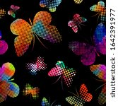 a lot of flying butterflies.... | Shutterstock .eps vector #1642391977