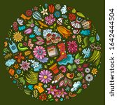 colorful vector hand drawn set... | Shutterstock .eps vector #1642444504