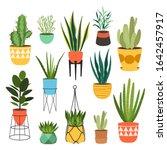 indoor plants flat color...   Shutterstock .eps vector #1642457917
