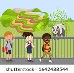 children excursion to zoo... | Shutterstock .eps vector #1642488544