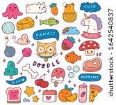 set of kawaii icon in doodle... | Shutterstock .eps vector #1642540837