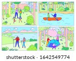 happy family camping together ... | Shutterstock .eps vector #1642549774