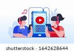 gadget music online headphone... | Shutterstock .eps vector #1642628644