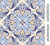 vintage seamless damask pattern.... | Shutterstock .eps vector #1642685311