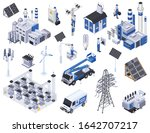 electricity isometric icons set ... | Shutterstock .eps vector #1642707217