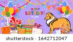 happy birthday banner. greeting ... | Shutterstock .eps vector #1642712047