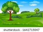 beautiful green hill landscape... | Shutterstock .eps vector #1642715047