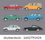colorful car set. isolated auto ... | Shutterstock .eps vector #1642791424