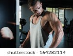 shoulders cable lateral raise... | Shutterstock . vector #164282114