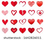 Red Heart Icon Set. Vector...