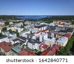 Aerial view of the Lahti, Finland. On the background Vesijarvi lake.