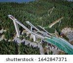 Aerial View of Ski Jump in Lahti City, Finland