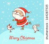 santa skate. childish merry... | Shutterstock .eps vector #164287535