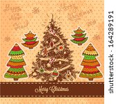 vector vintage christmas card... | Shutterstock .eps vector #164289191