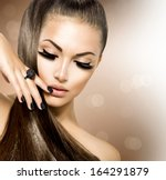 beauty fashion model girl with... | Shutterstock . vector #164291879