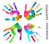 handprints in different colors... | Shutterstock . vector #164299955