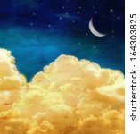 puffy clouds and the moon | Shutterstock . vector #164303825