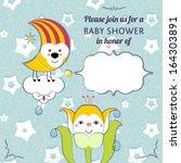 baby shower invitation card... | Shutterstock . vector #164303891