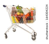 shopping cart full with dairy... | Shutterstock . vector #164304224