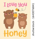 cute couple of teddy bear with... | Shutterstock .eps vector #1643076841