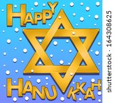 happy hanukkah text with a... | Shutterstock .eps vector #164308625