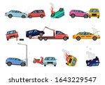 vehicle damage. transport crash ... | Shutterstock .eps vector #1643229547