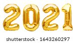 Small photo of Golden Christmas 2021 balloons isolated on white background. Helium balloons, gold foil numbers. Numbers for Happy New Year 2021. Party decoration, anniversary sign for holidays, celebration, carnival
