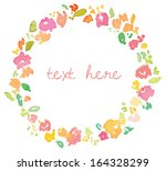 vector floral watercolor wreath | Shutterstock .eps vector #164328299