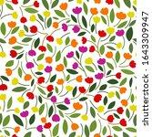 multicolored tulips  leaves on... | Shutterstock .eps vector #1643309947