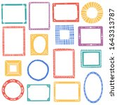 hand drawn frames colorful set. ... | Shutterstock .eps vector #1643313787