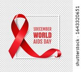 aids day symbol red ribbon... | Shutterstock . vector #1643320651