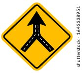 warning sign two way road merge.... | Shutterstock .eps vector #1643338951