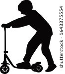 a boy on scooter silhouette...   Shutterstock .eps vector #1643375554