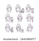 skin care black line icons set. ...