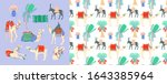 set of hand drawing camel ... | Shutterstock . vector #1643385964