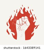 raised up fist on red fire... | Shutterstock .eps vector #1643389141