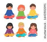 children meditation. group of...   Shutterstock .eps vector #1643502091