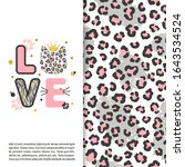 love card with cute leopard cat ...   Shutterstock .eps vector #1643534524