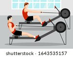 training athletes on a rowing... | Shutterstock .eps vector #1643535157