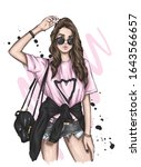 beautiful girl in a stylish t... | Shutterstock .eps vector #1643566657