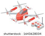 drone with remote controller ... | Shutterstock .eps vector #1643628034