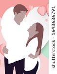 a lovely young couple embrace...   Shutterstock . vector #1643636791