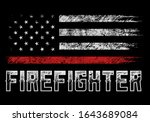 usa firefighter with thin red... | Shutterstock .eps vector #1643689084