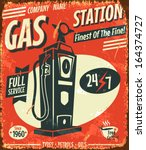 grunge retro gas station sign.... | Shutterstock .eps vector #164374727