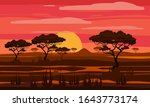 sunset in africa  savanna... | Shutterstock .eps vector #1643773174