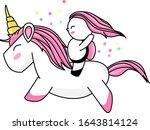 the cute cartoon unicorn with... | Shutterstock .eps vector #1643814124
