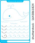 lovely whale and waves. tracing.... | Shutterstock .eps vector #1643861824