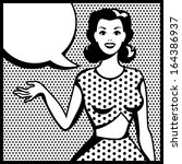 illustration of retro girl in...   Shutterstock .eps vector #164386937