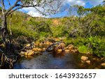 Waterfall In A Wild Region Of...